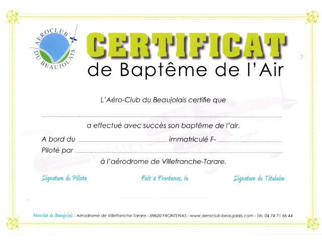 Certificat Baptême de l'Air